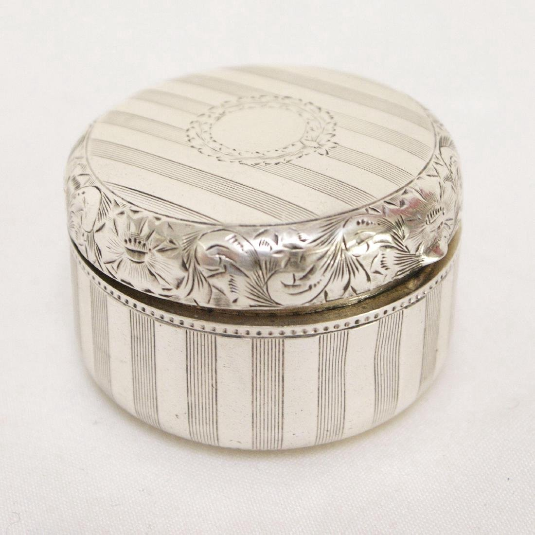 Antique Sterling Silver Rouge Pot with Mirror, 1880
