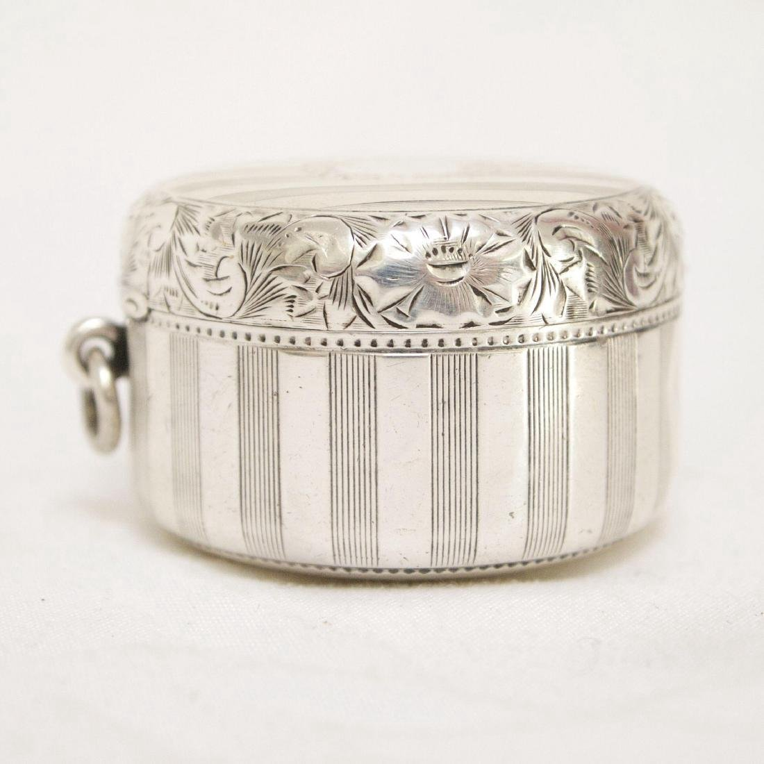 Antique Sterling Silver Rouge Pot with Mirror, 1880 - 2