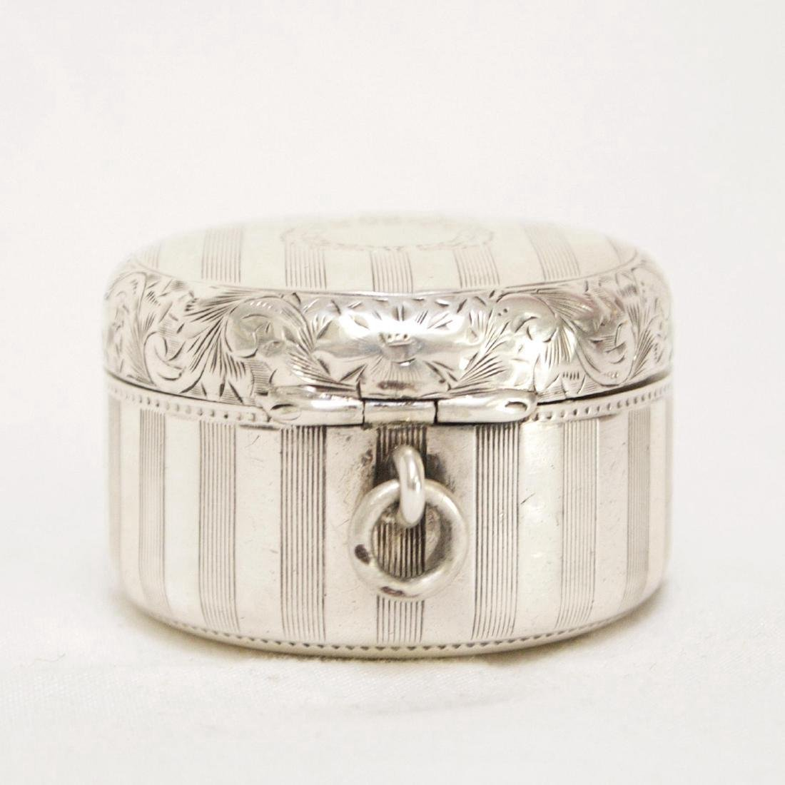 Antique Sterling Silver Rouge Pot with Mirror, 1880 - 3