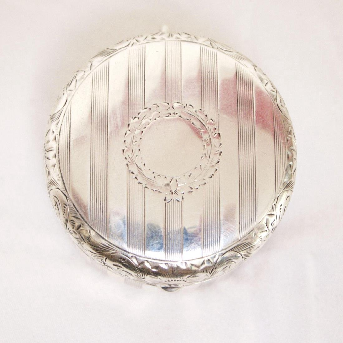 Antique Sterling Silver Rouge Pot with Mirror, 1880 - 5
