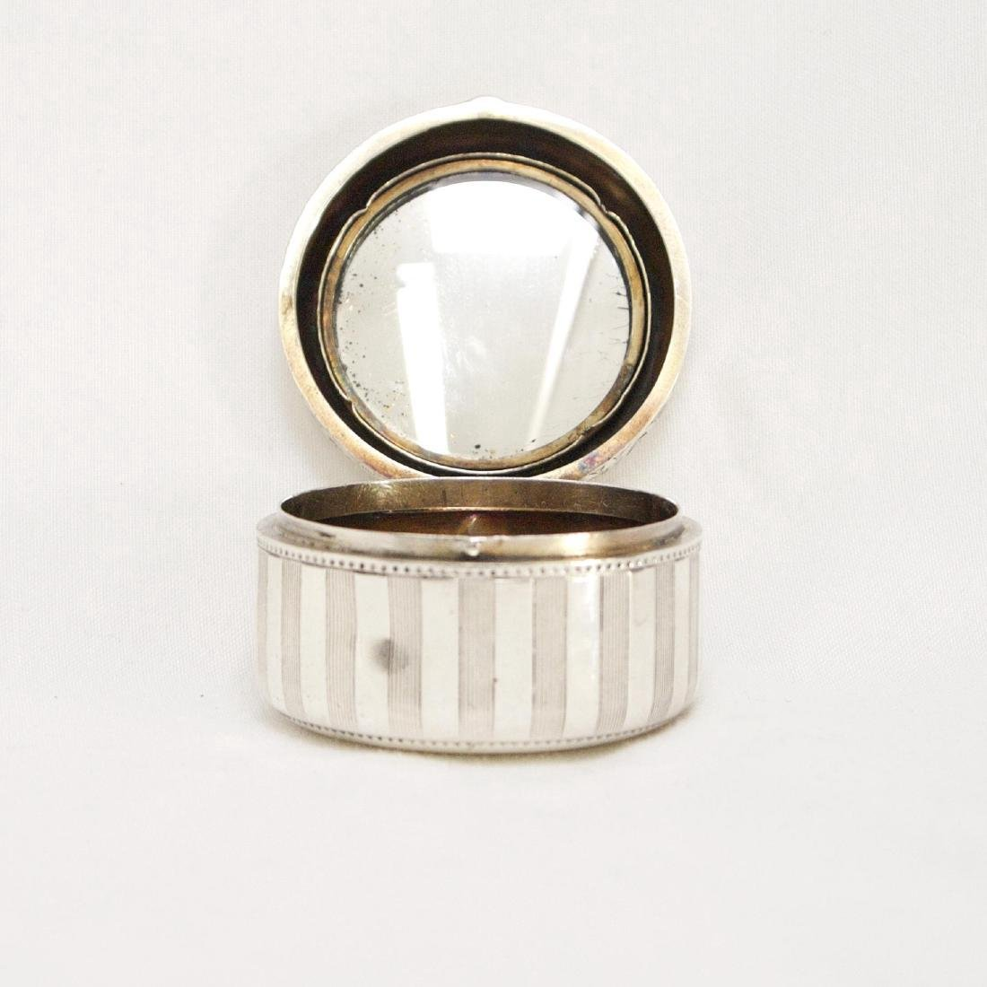 Antique Sterling Silver Rouge Pot with Mirror, 1880 - 8