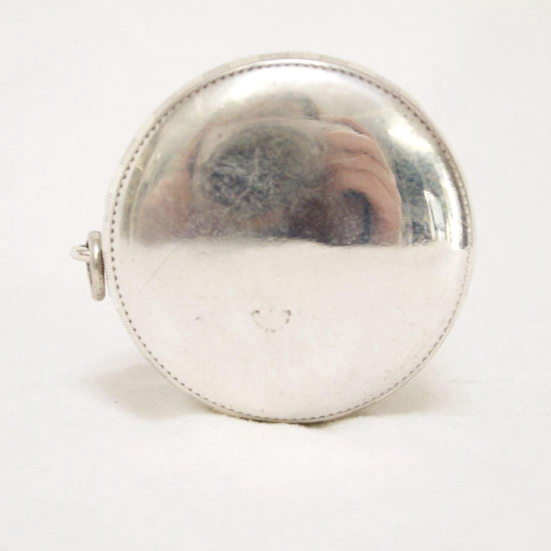 Antique Sterling Silver Rouge Pot with Mirror, 1880 - 9