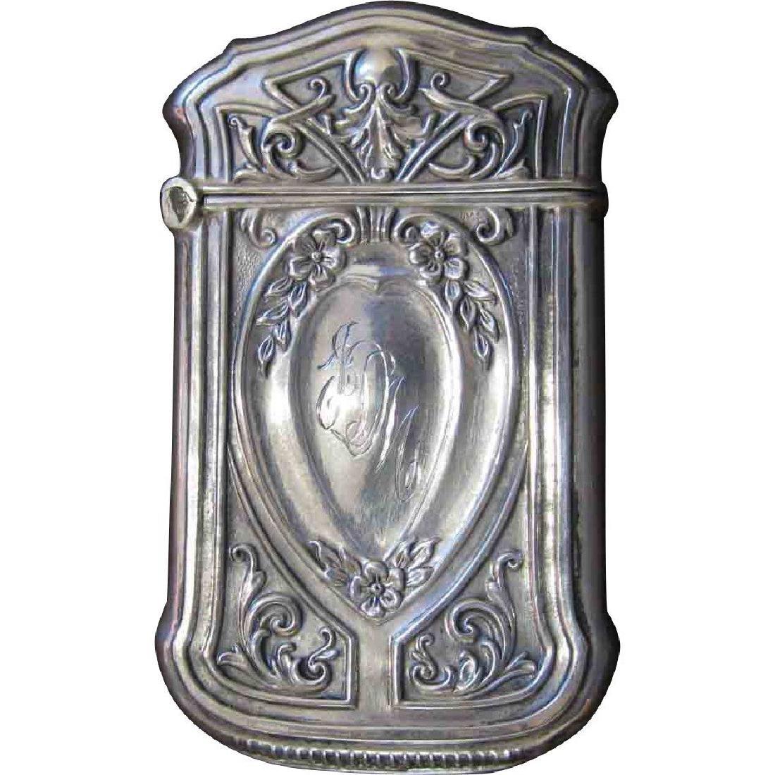 Webster Co Sterling Silver Floral Match Safe, 1880