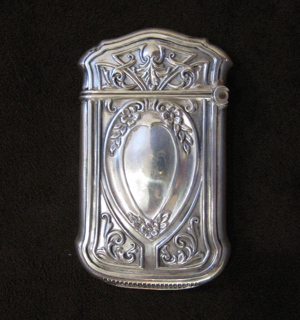 Webster Co Sterling Silver Floral Match Safe, 1880 - 2