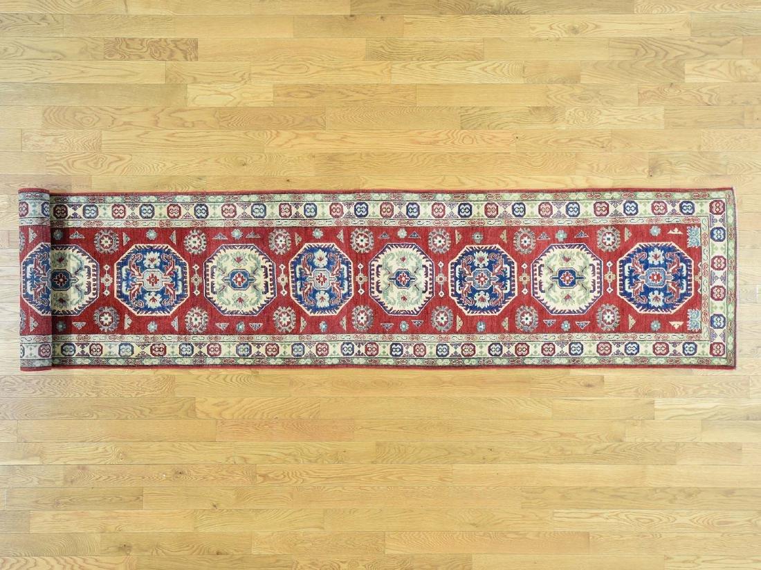 HandmadeTribal & Geometric Kazak Runner Rug 2.8x15.4