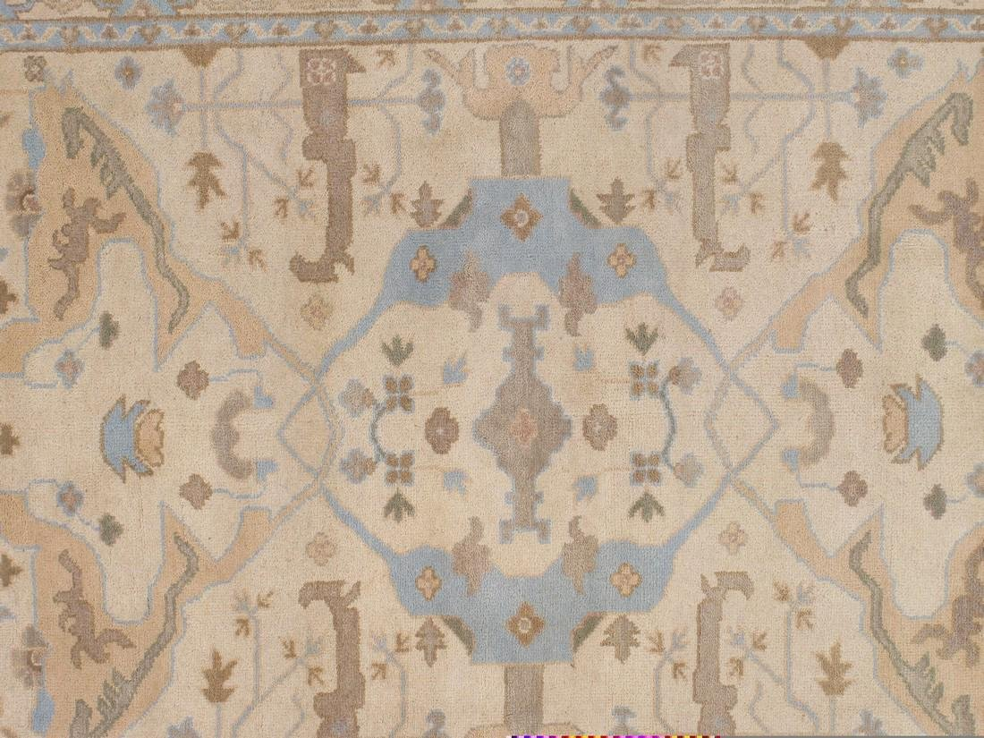 Exquisite Oushak Wool Area Rug Made by Hand 6x9 - 3