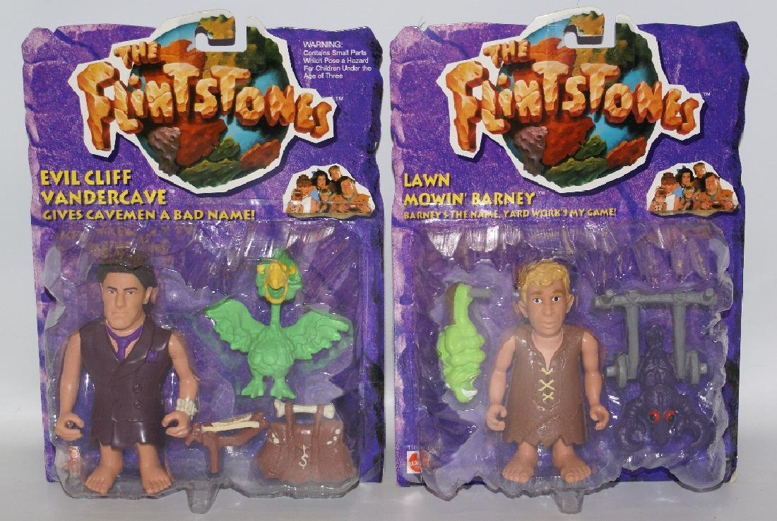 Lot of 2 Mattel THE FLINTSTONES Barney Cliff Vandercave