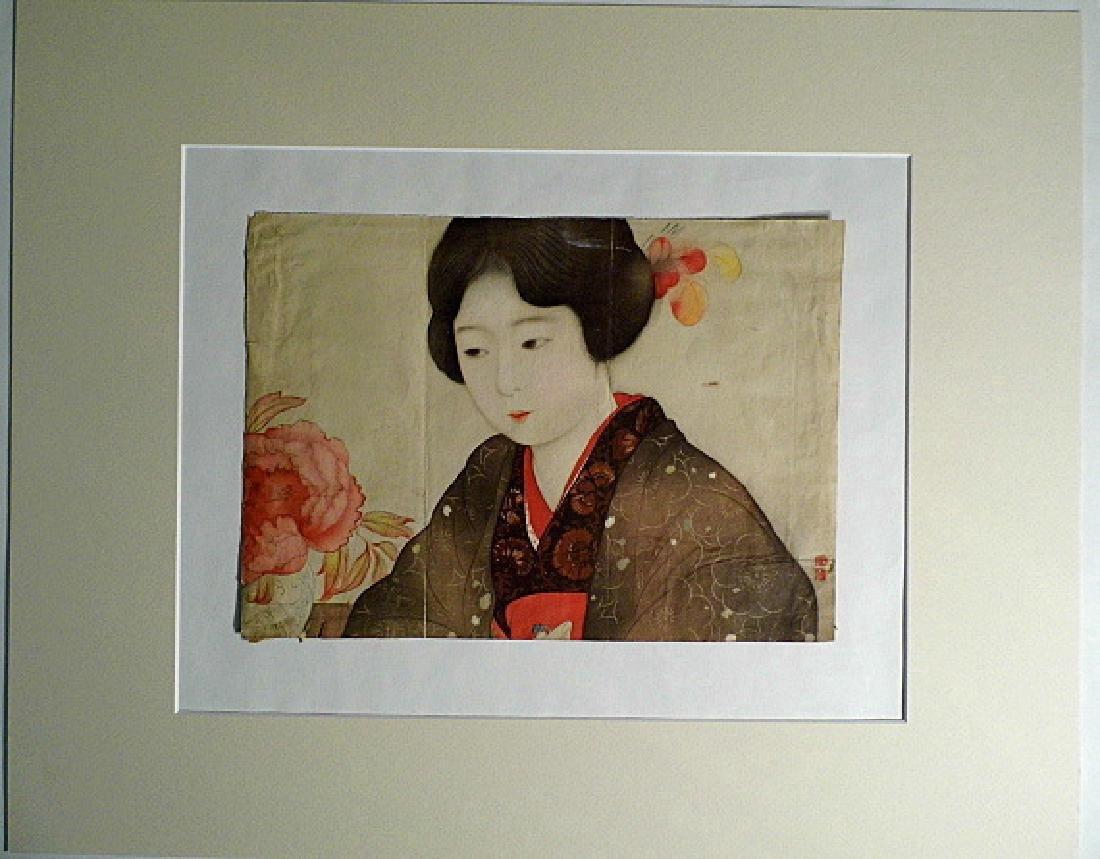 1930's Kyoto Scrapbook Print Geisha & Flower Vase