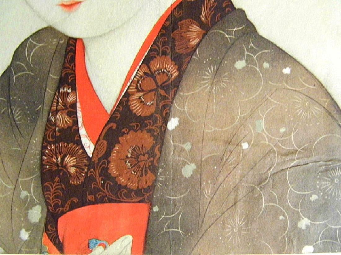 1930's Kyoto Scrapbook Print Geisha & Flower Vase - 3