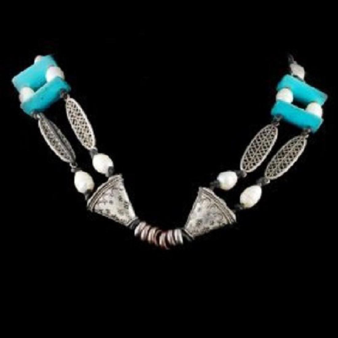 Tibet Silver Pearls and Turquoise Necklace