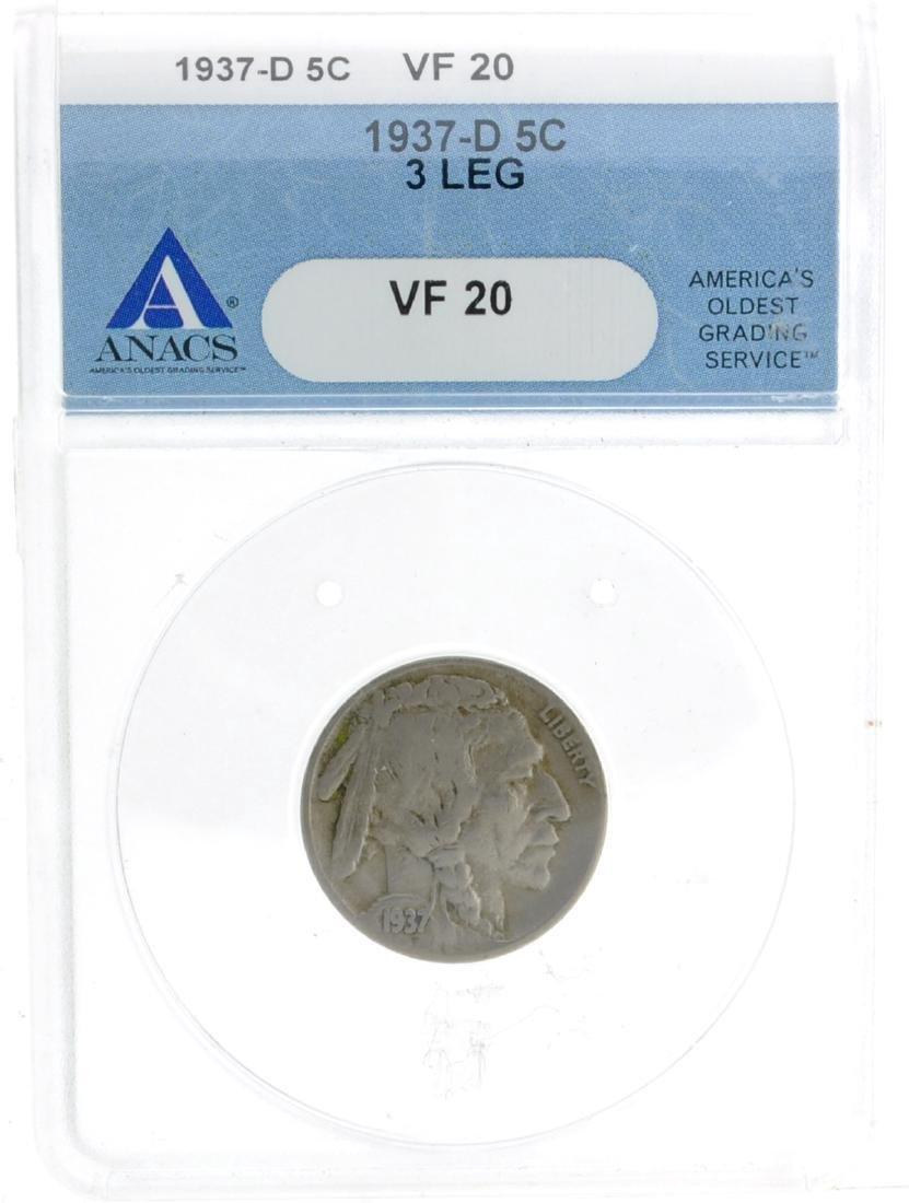 1937-D ANACS VF 20 3 Leg Buffalo Nickel Coin - Very