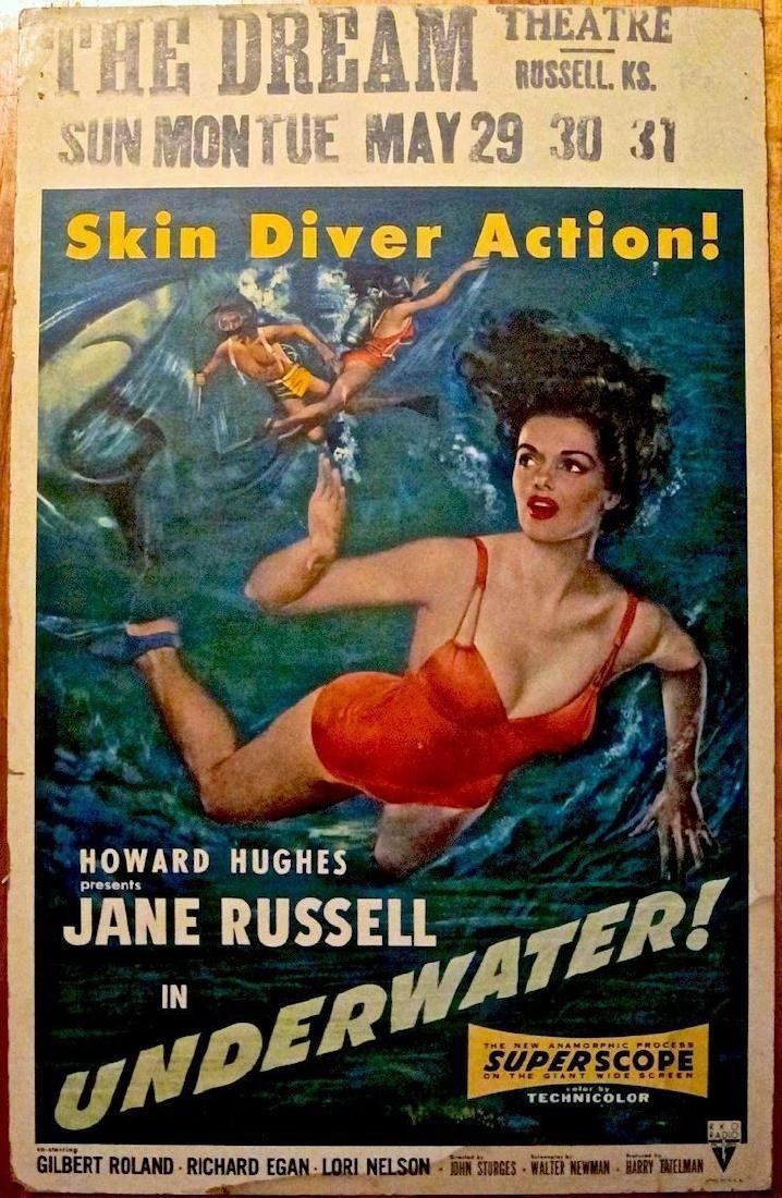 Underwater '55 Poster Howard Hughes & Jane Russell