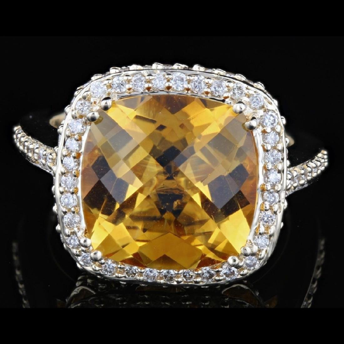 Contemporary 14k 8.40ctw Citrine & 1.46ctw Diamond Ring