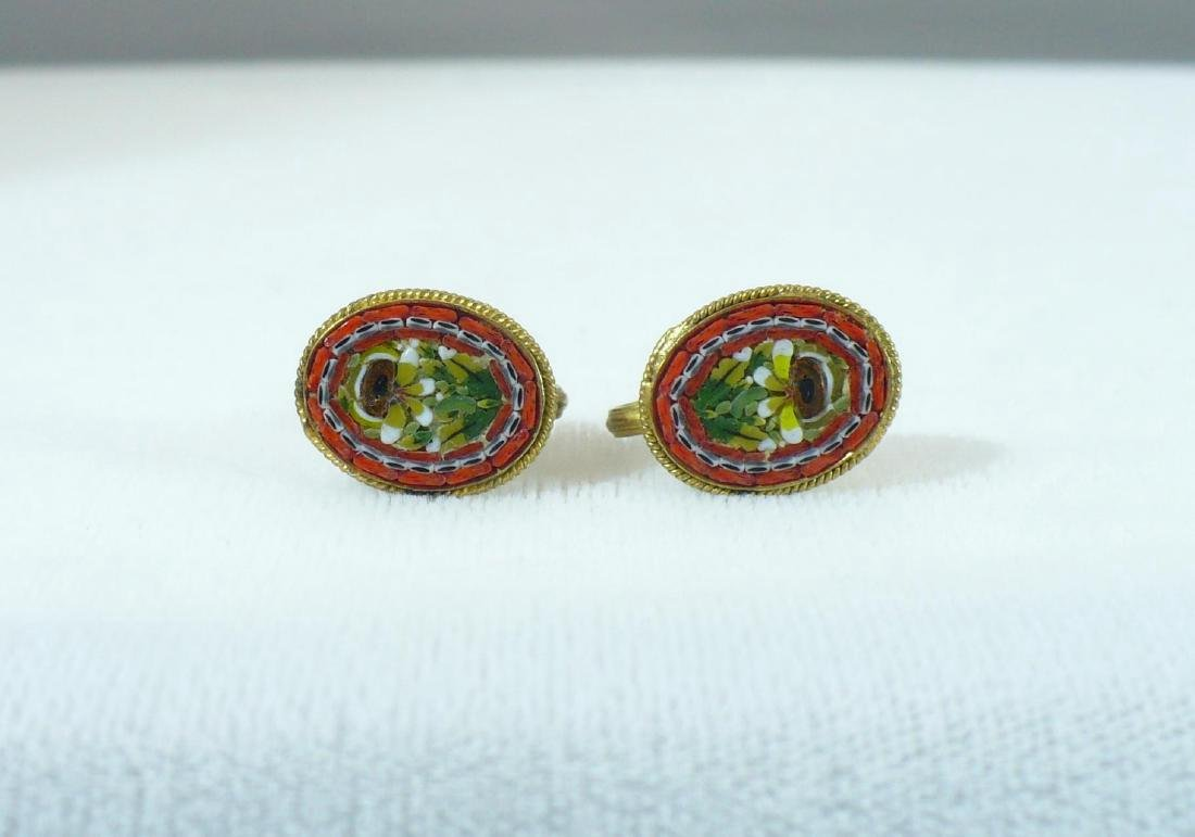 "Vintage ""fap"" Micromosaic Earrings Made in Italy"