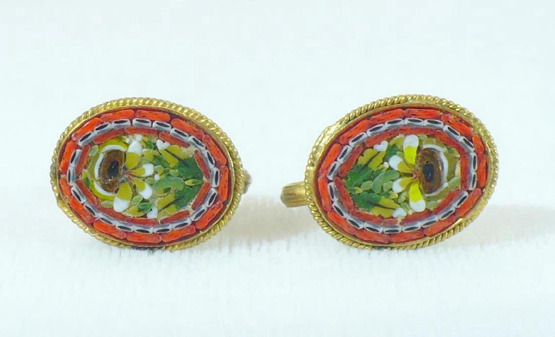 "Vintage ""fap"" Micromosaic Earrings Made in Italy - 2"