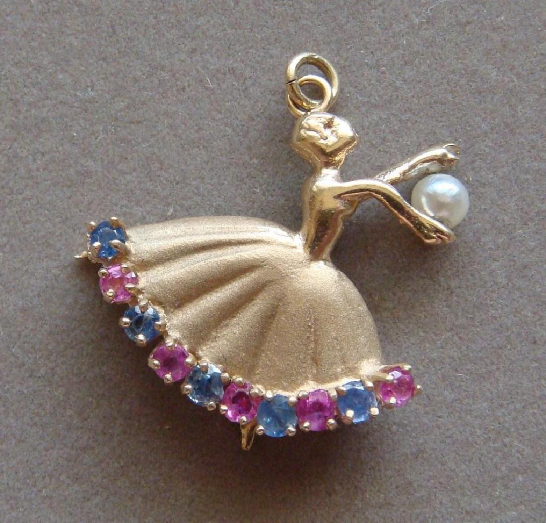 Estate 14kt Gold Ruby & Pearl Ballerina Pendant