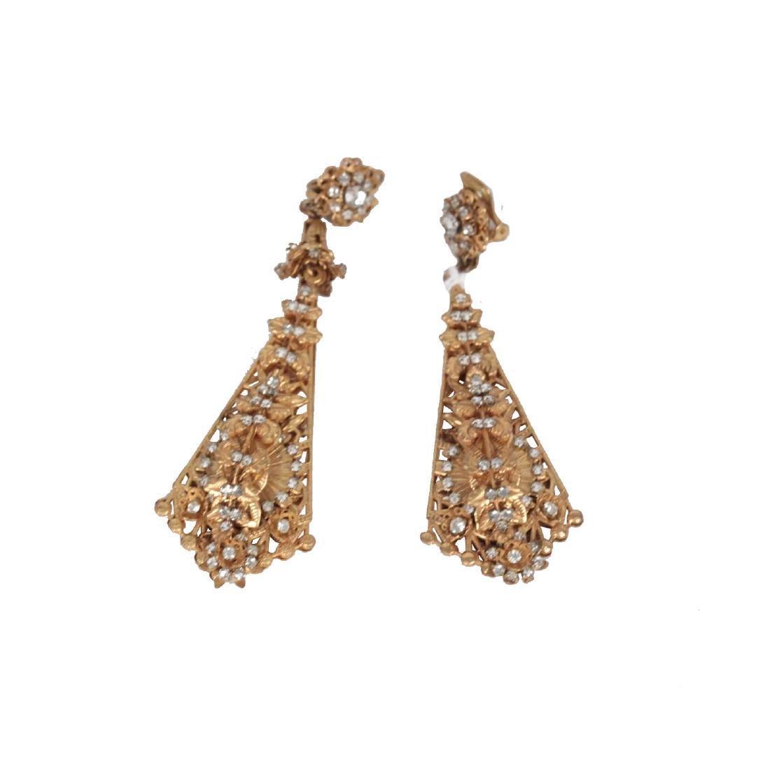 Demario Hagler Vintage Gold Metal & Crystals Earrings