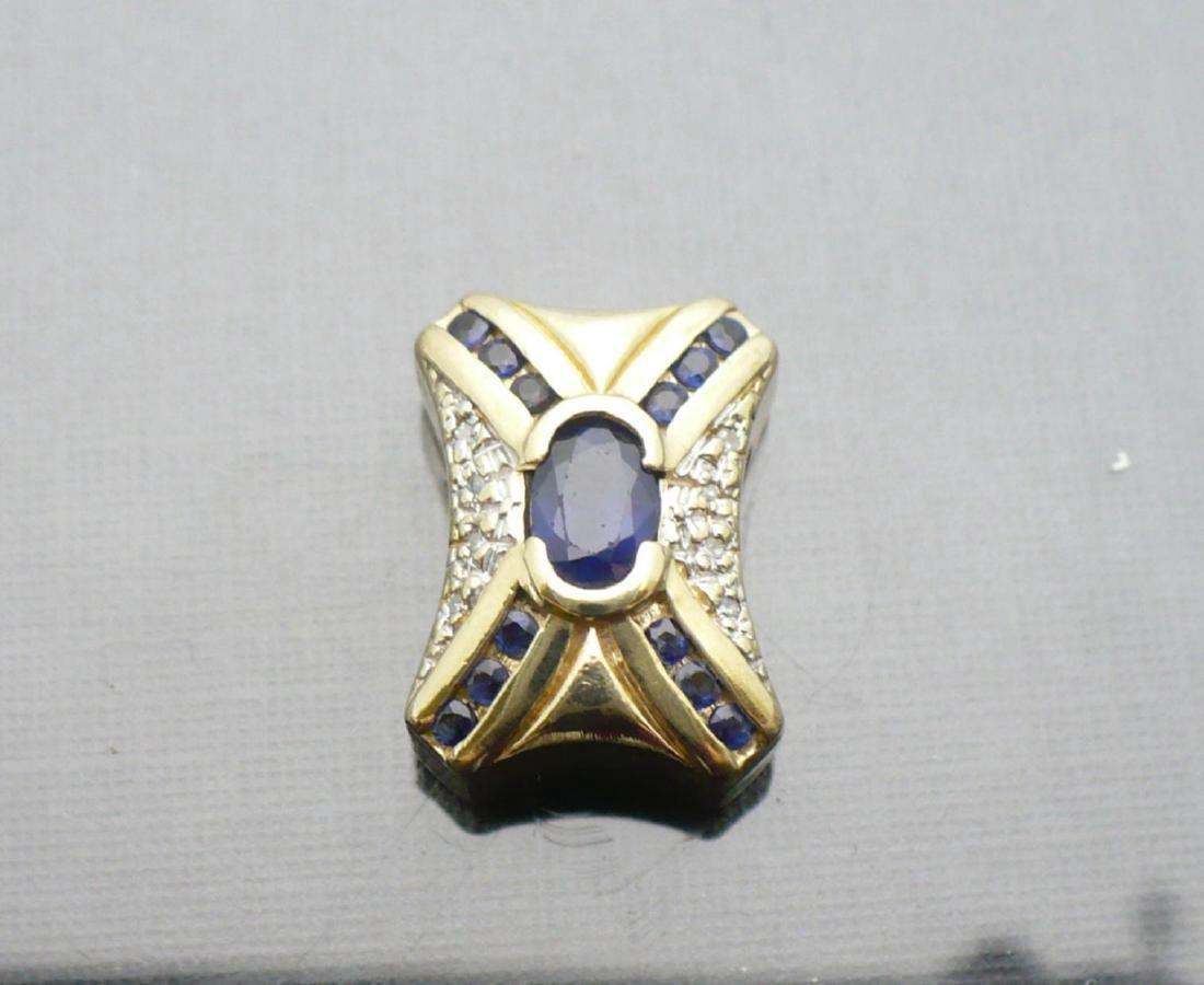 Art Deco 14kt Gold Diamond Sapphire Necklace Pendant