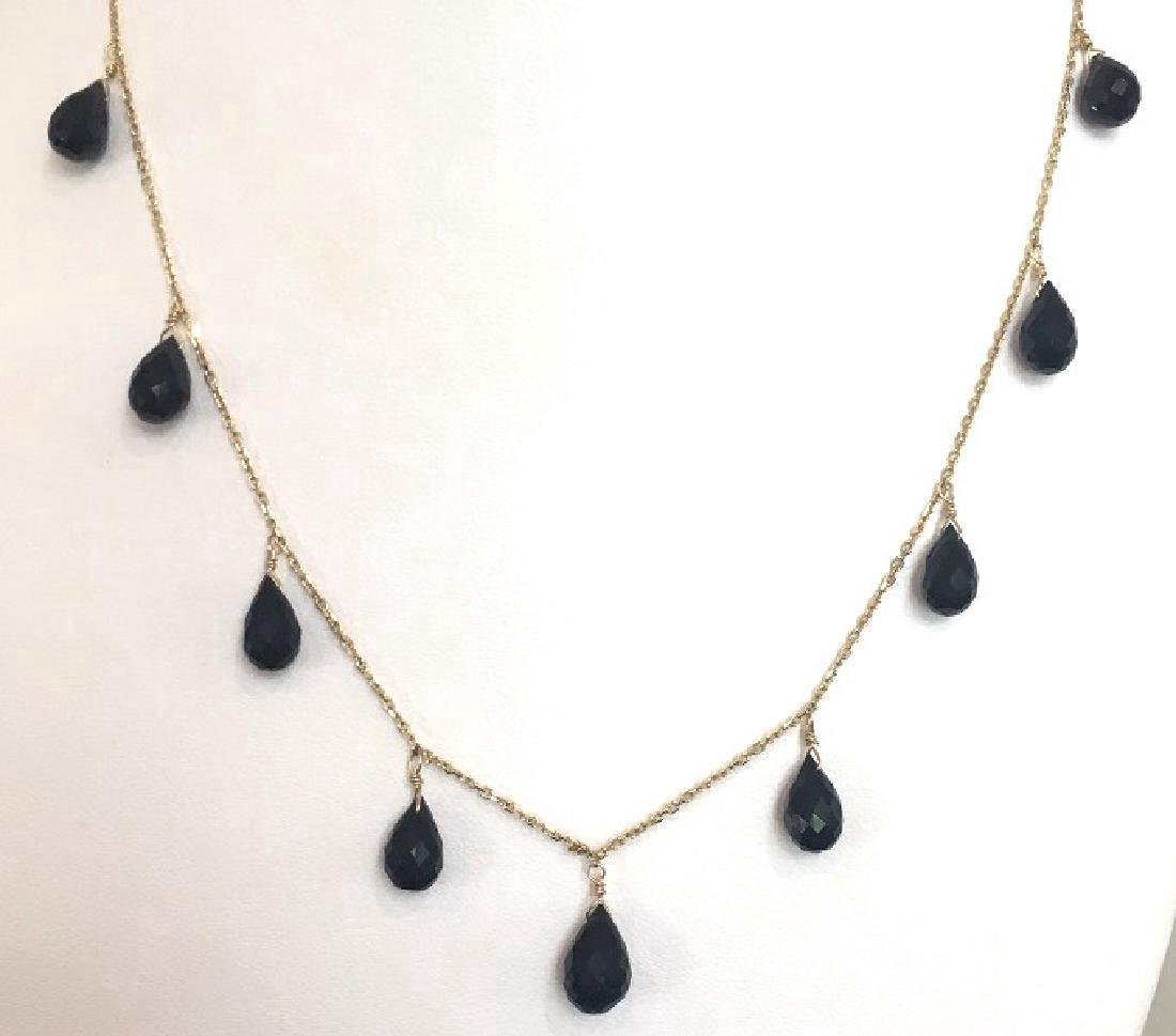 Contemporary 14k Tear Drop Onyx Pendant Necklace