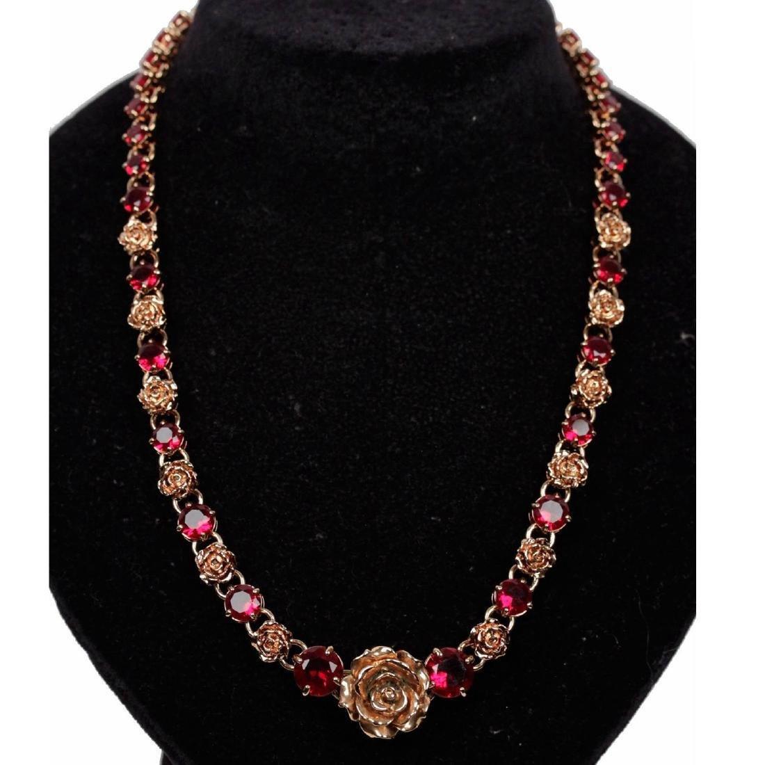 Prada Gold Metal Red Rhinestone Roses Necklace W/ Box