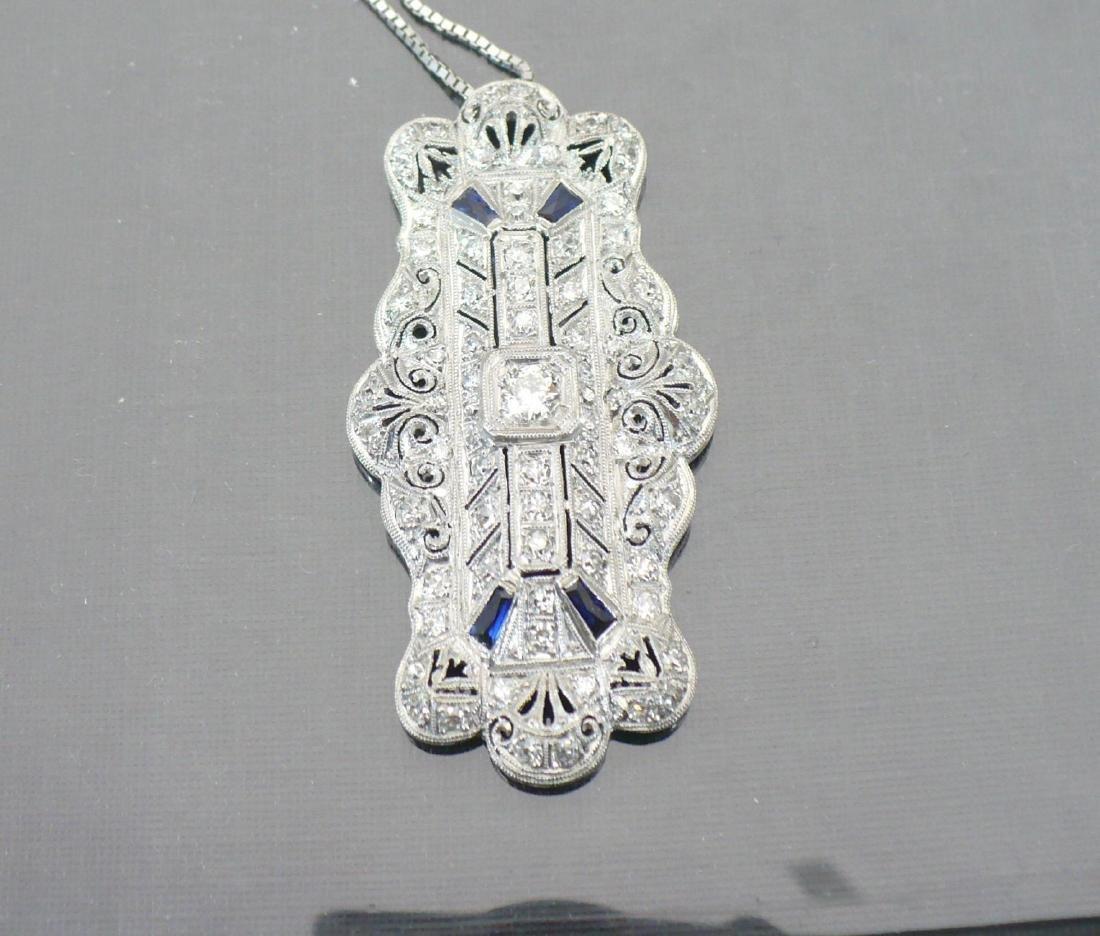 Edwardian Style Platinum Diamond & Sapphire Pendant