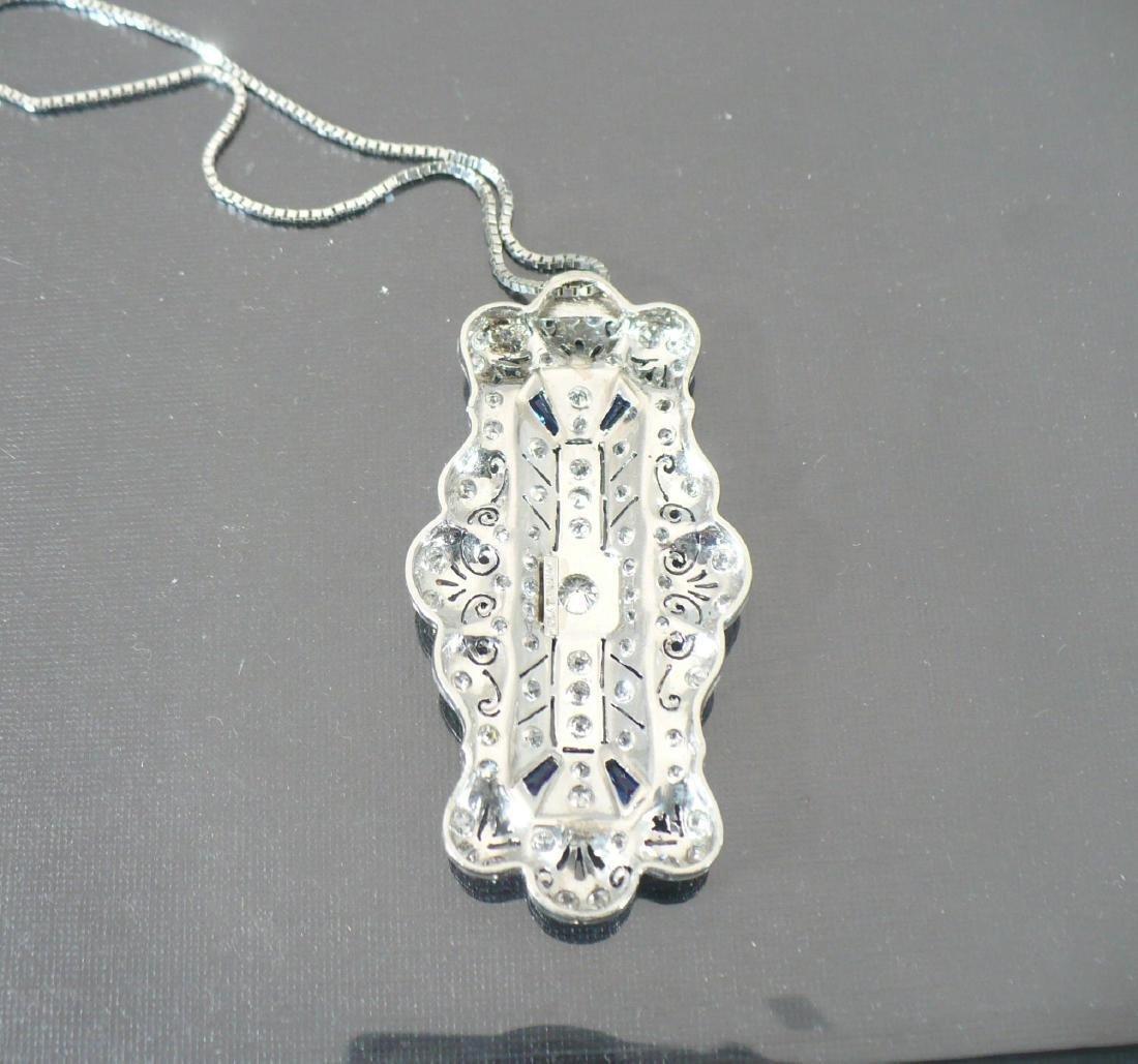Edwardian Style Platinum Diamond & Sapphire Pendant - 2
