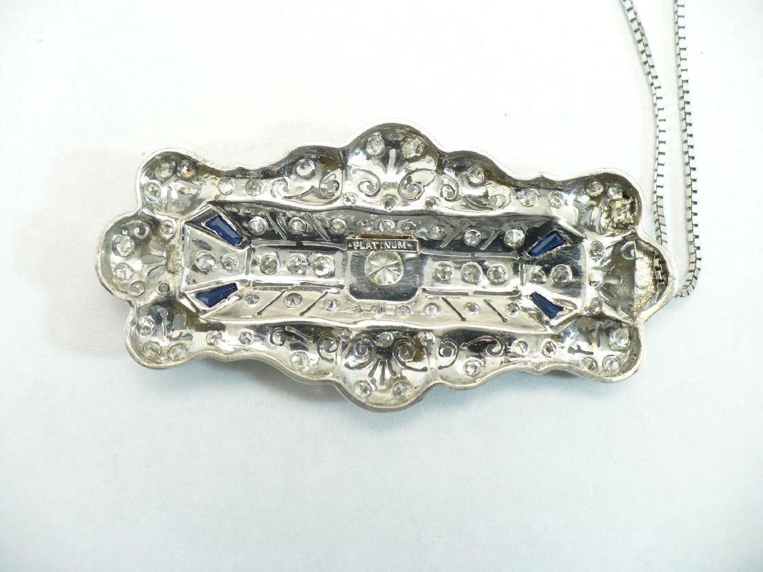 Edwardian Style Platinum Diamond & Sapphire Pendant - 3