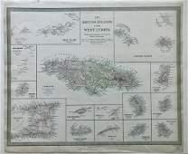 Jamaica British West Indies Antique Map, 1835