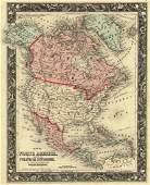 Mitchell: Map of North America, Polar Regions, 1861