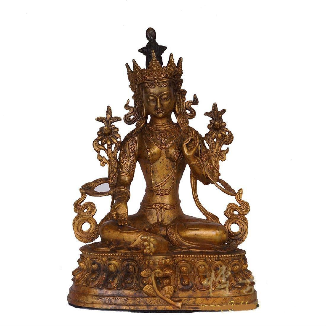 Antique Tibetan Bronze Bodhisattva Du Mu Statuary, 1900