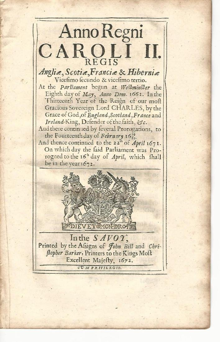 1672 English Act London Fire and Plague