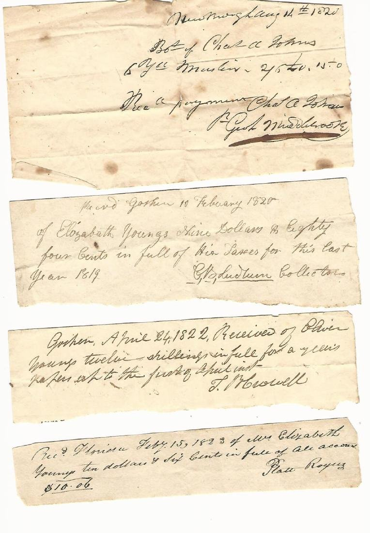 Lot of 1820 New York Receipts