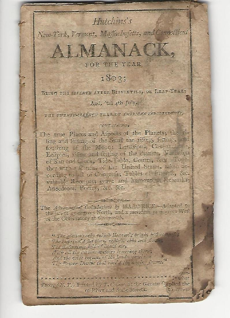 Hutchin's NY, VT, MA, and CT Almanack for the Year 1803