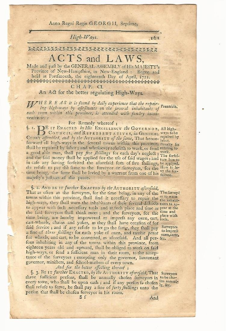 1771 Colonial NH Act for Better Regulating of Highways