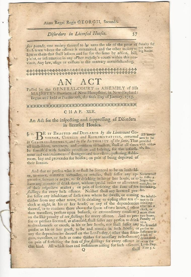 1771 Colonial Act Regulating Disorders, Licensed Houses