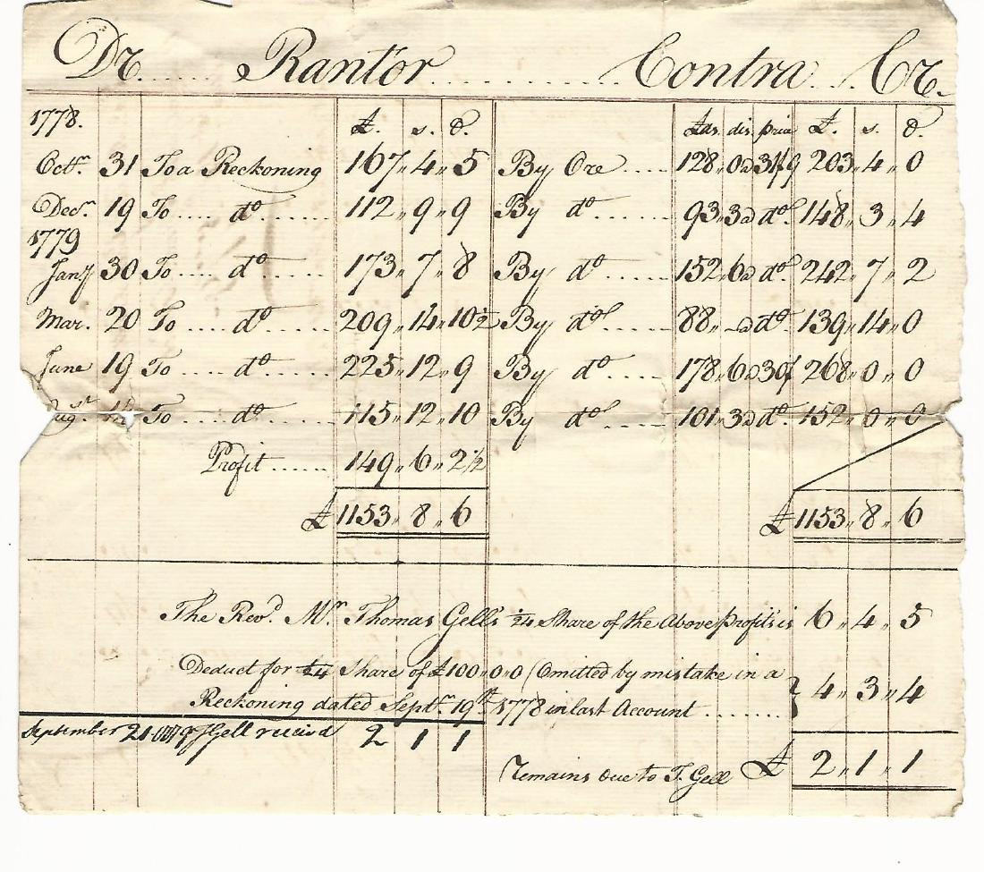 1779 Nicely Penned English Accounting Sheet