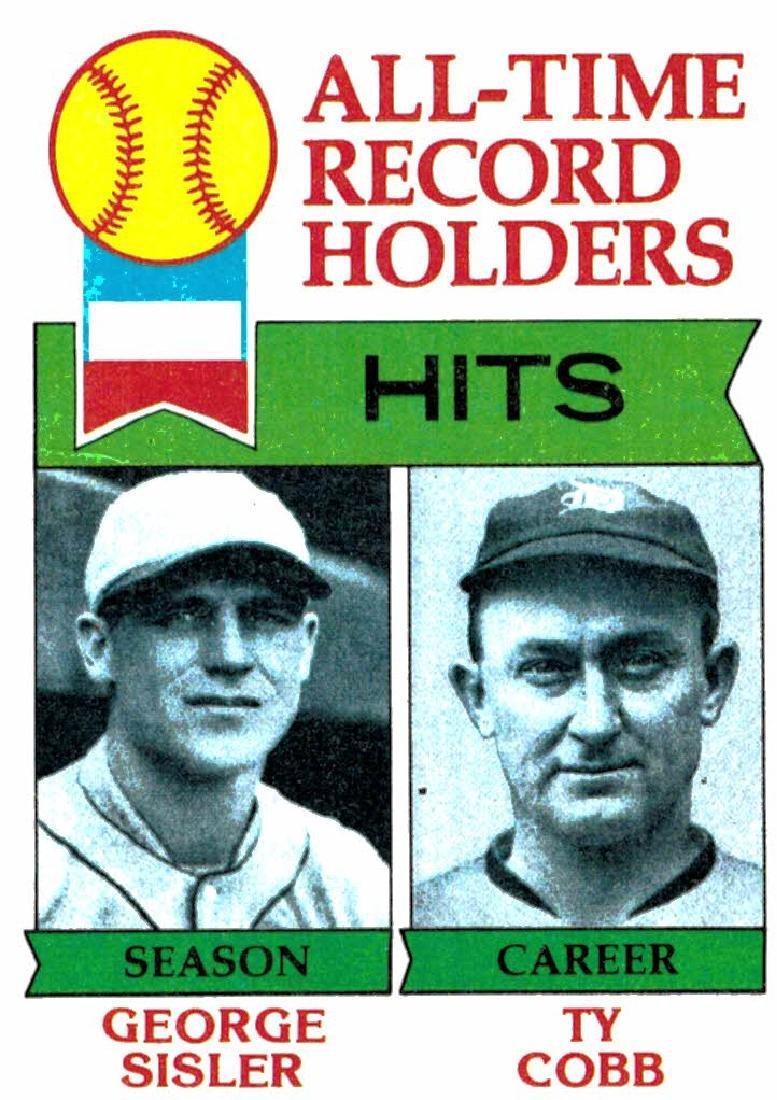 1979 Topps George Sisler/Ty Cobb Hits Record Holders