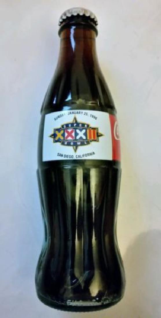 Coca Cola Super Bowl XXXII FULL UNOPENED Glass Bottle