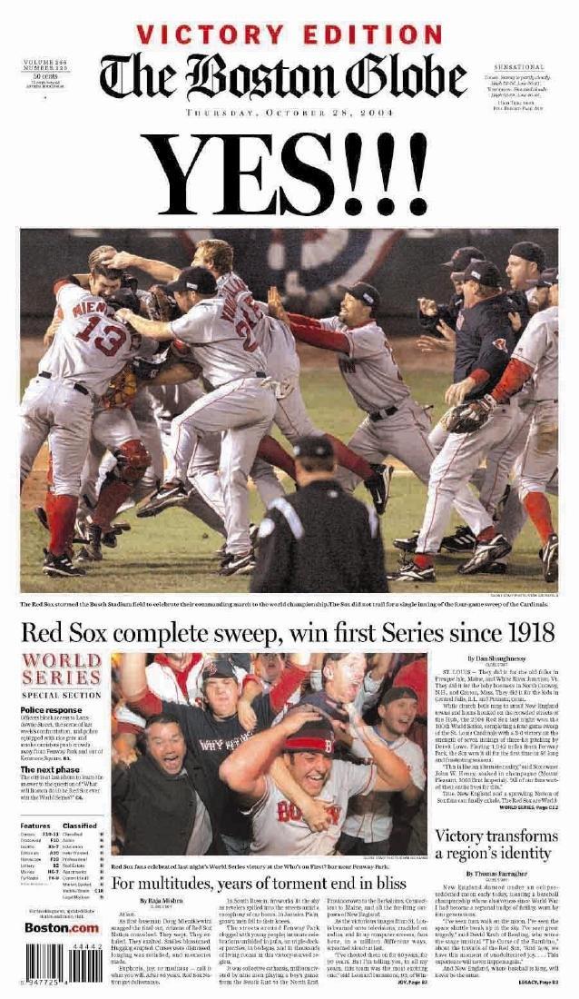 Boston Red Sox 2004 World Series The Boston Globe