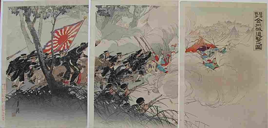Ogata Gekko: Sino-Japanese War triptych