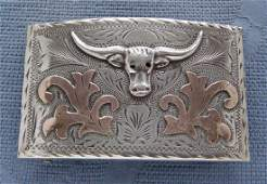Mexican Sterling Silver 14K Gold Long Horn Belt Buckle