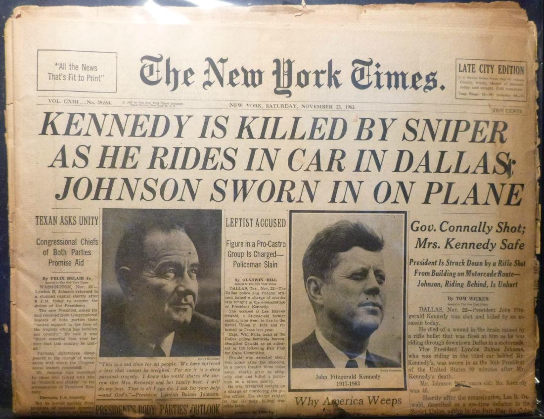NY Times- Nov.23rd, 1963 - John F Kennedy Assissination