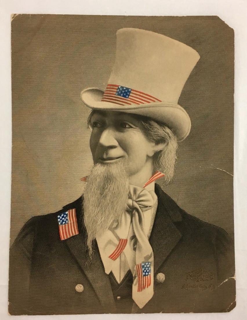 Antique 19thc Uncle Sam American Flag Ad