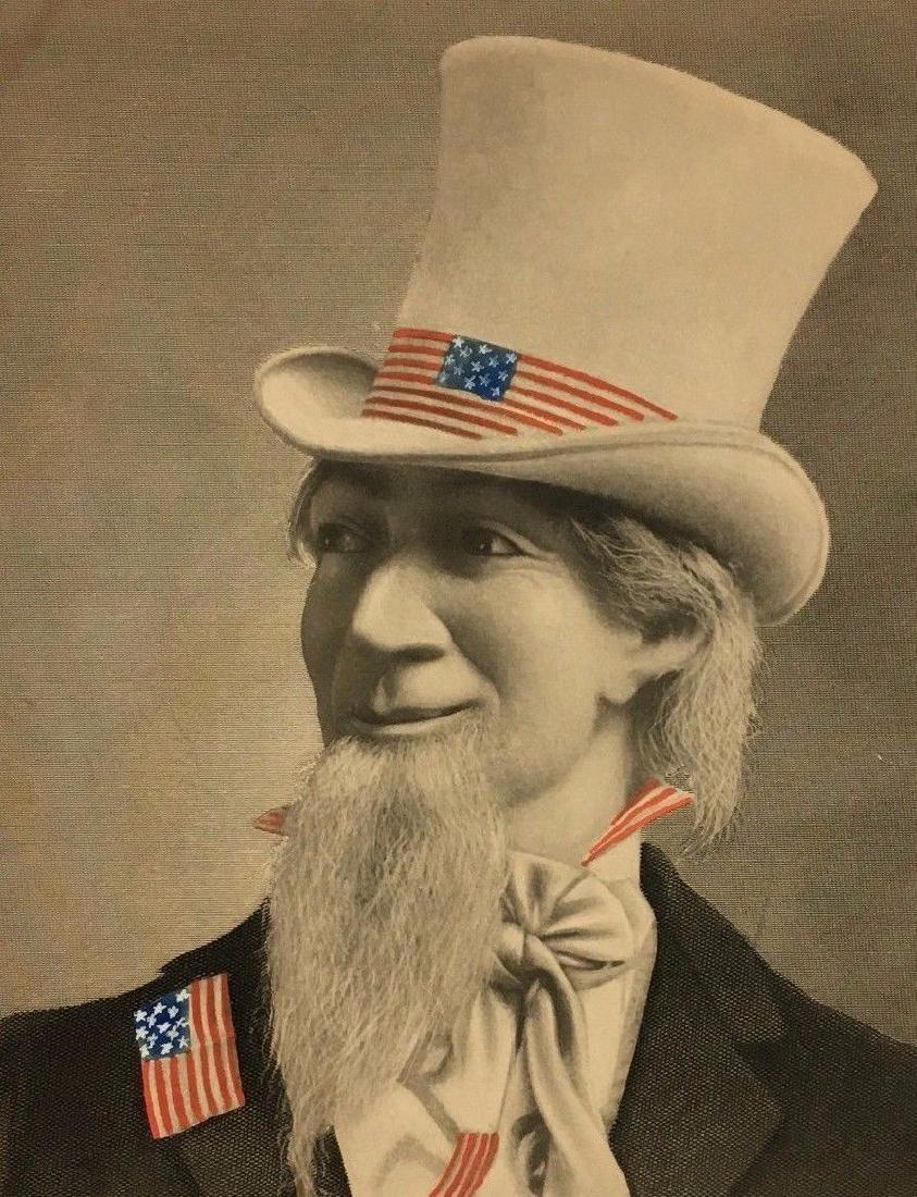 Antique 19thc Uncle Sam American Flag Ad - 4