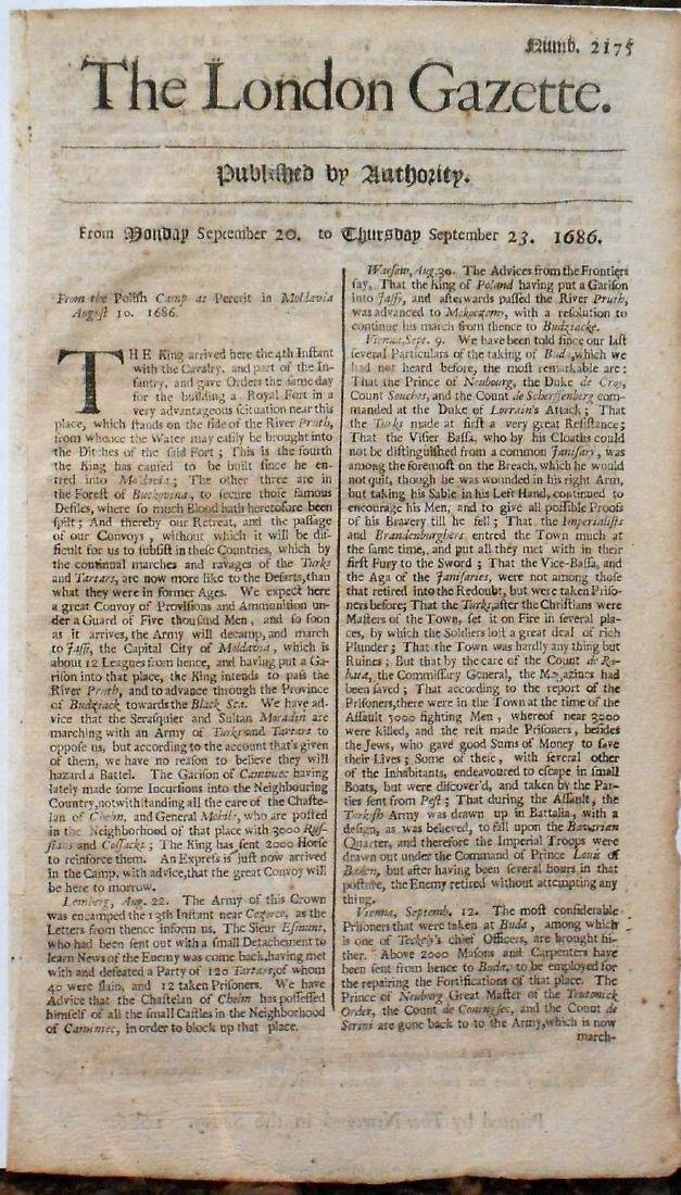 The London Gazette Monday Sept 20-Thursday 23, 1686