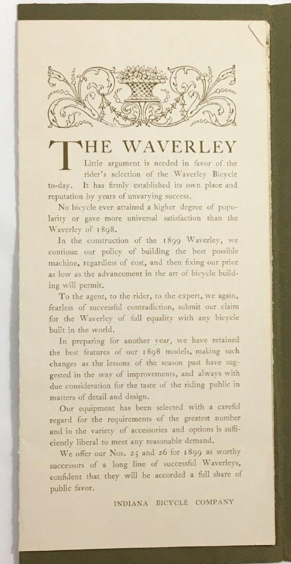 Antique 1899 Waverley Indiana Bicycle Company Catalog - 3