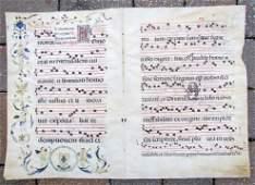 16th-17th C Antique Illuminated Vellum Manuscript