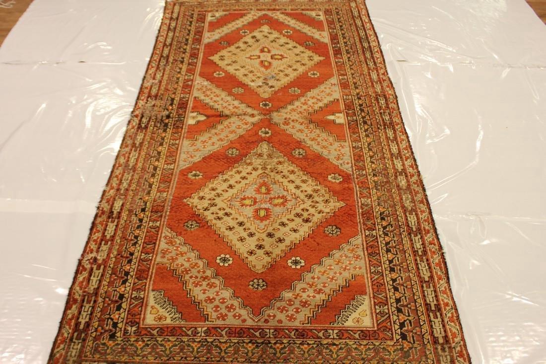 """Antique Handmade Caucasion Rug 4'2"""" x 9'2"""" - 2"""