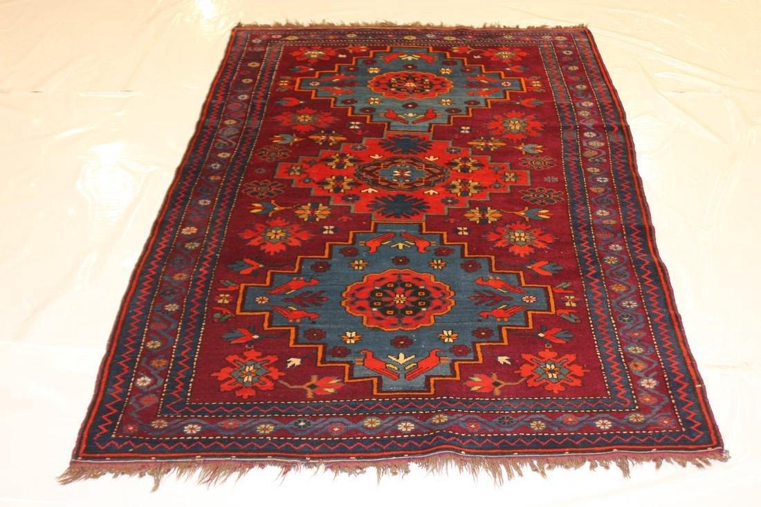 """Antique Handmade Kazak Caucasion Rug 4'2"""" x 6'2"""""""