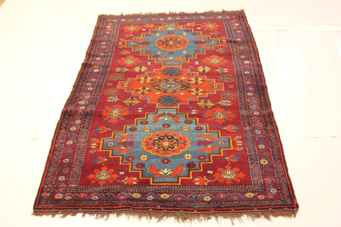 """Antique Handmade Kazak Caucasion Rug 4'2"""" x 6'2"""" - 2"""